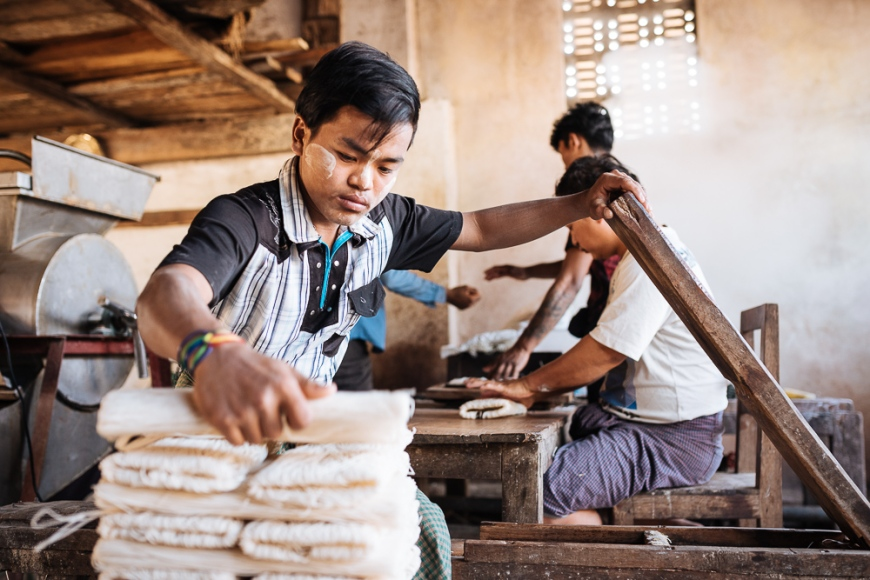 Workers at a Noodle Factory, Hsipaw, Shan State, Myanmar, Asia