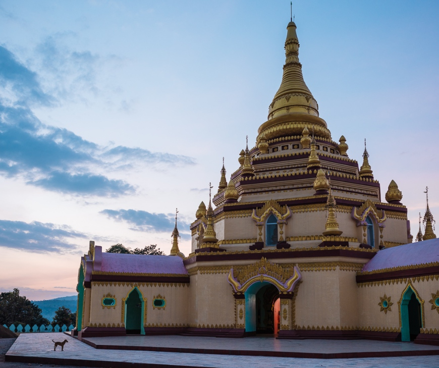 Exterior of Pagoda at twilight, Hsipaw, Shan State, Myanmar, Asia