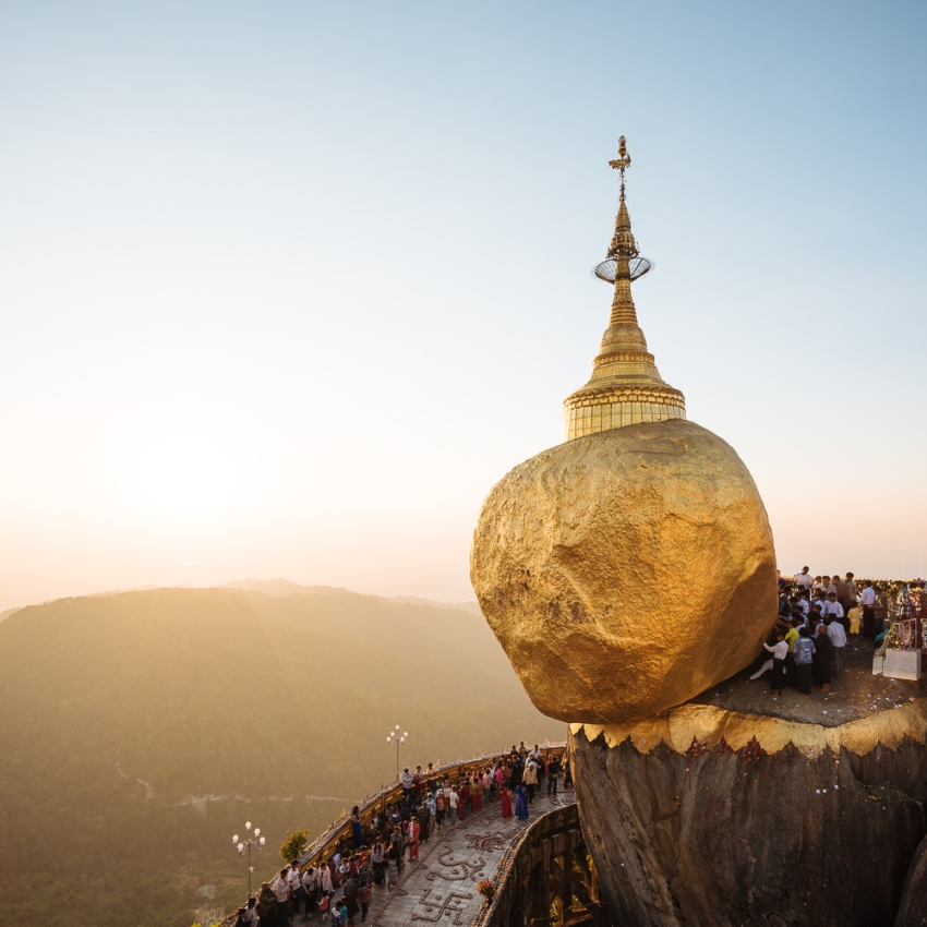 Mount Kyaiktiyo Golden Rock Myanmar Sunset
