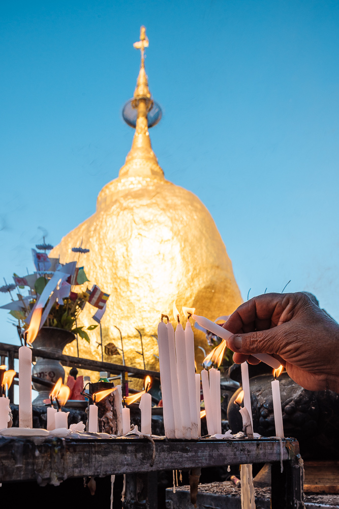 Candle at Mount Kyaiktiyo Golden Rock Myanmar Sunset