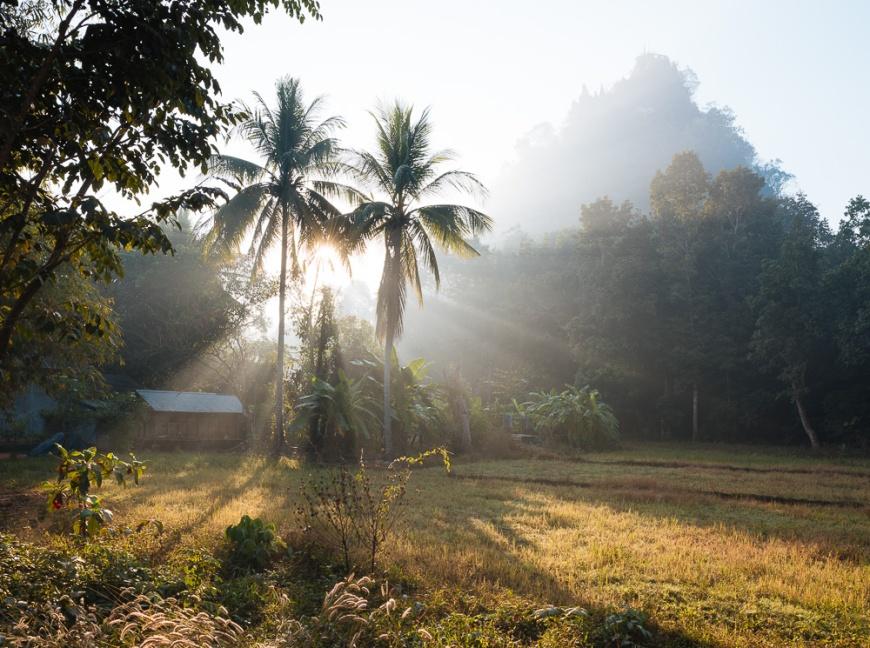 Sunrise over village near Hpa-an, Kayin State, Myanmar, Asia
