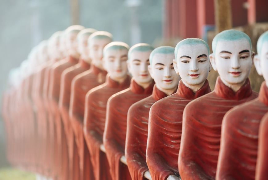 Row of Monk Statues at Kaw Ka Thawng Cave, Hpa-an, Kayin State. Myanmar, Asia