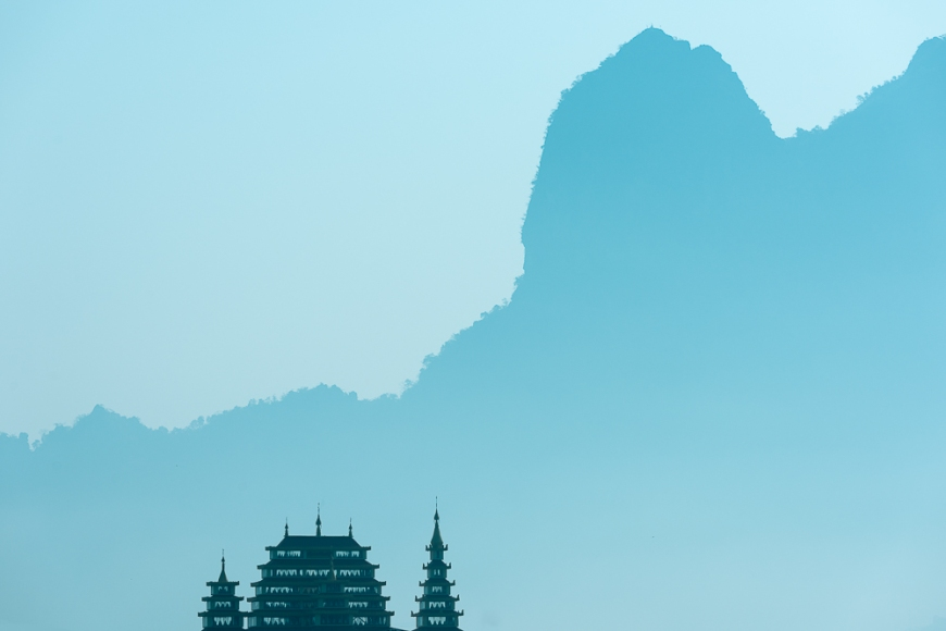 View of temple with Karst hill in background, Hpa-an, Kayin State. Myanmar, Asia