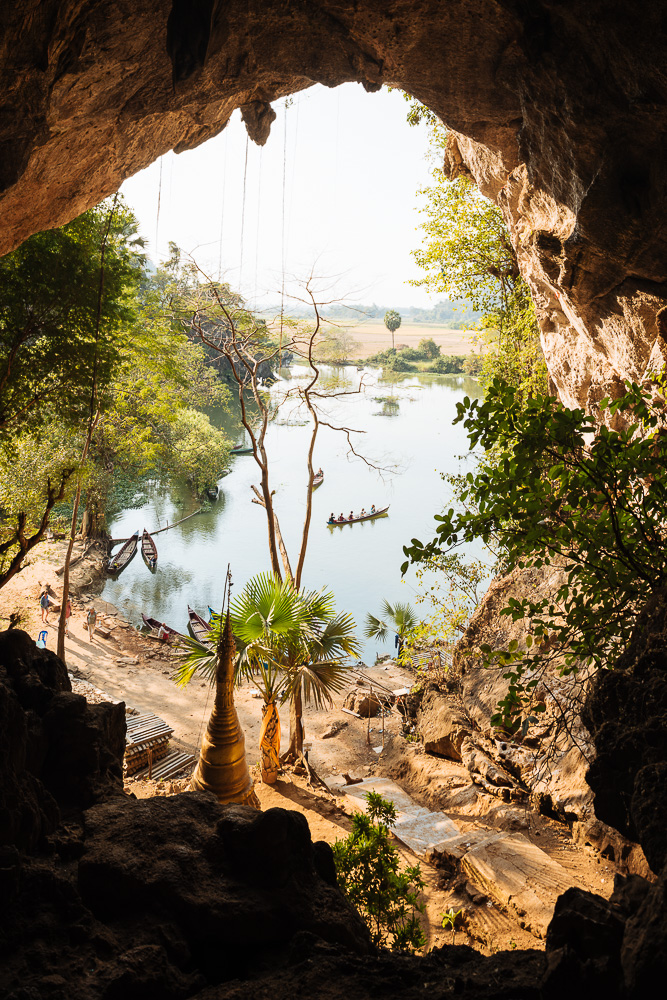 Interior of Sa-dan Cave near Hpa-an, Kayin State. Myanmar, Asia