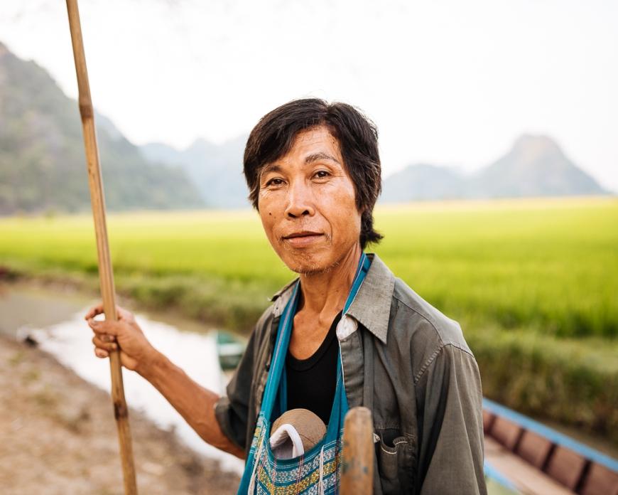 Portrait of Boat man, Sa-dan Cave near Hpa-an, Kayin State. Myanmar, Asia