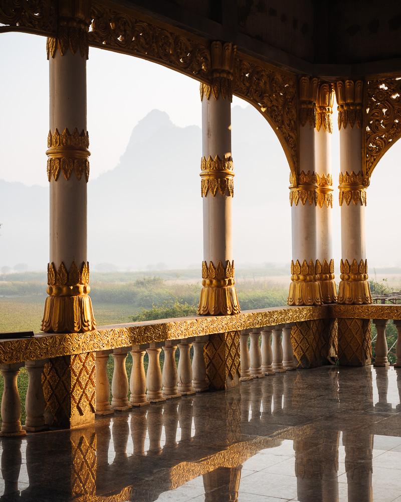 Interior of Kyauk Ka Latt Pagoda, Hpa-an, Kayin State, Myanmar