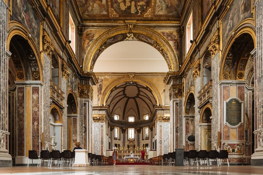 Interior of Basilica di San Paolo Maggiore, Naples, Italy, Europe