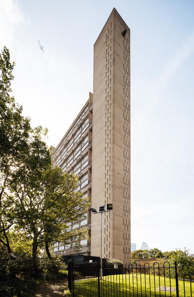 Exterior of The Balfron Tower, Poplar, London, UK