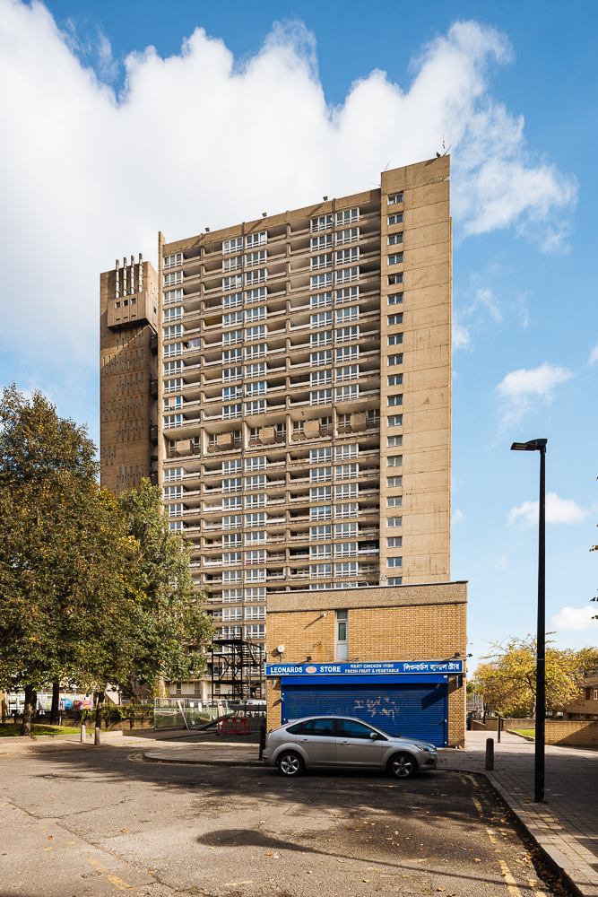 Exterior of The Balfron Tower, Poplar, London, UK
