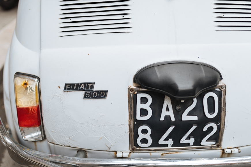 Detail of Fiat 500 Classic Car, Bari, Puglia, Italy, Europe