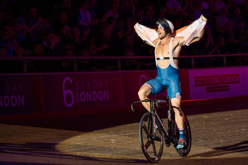 Nate Koch celebrates his win by tearing open his shirt, Six Day Cycling at The Velodrome, London. October 2017 Nikon D4 with Nikon 70-200mm Lens at 78mm. Exposure: 1/500th at f/5.6 and ISO 4000