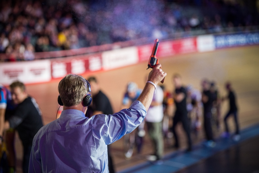 The Starting Gun, Six Day London, The Velodrome, October 2017 Nikon D4 with Nikon 70-200mm Lens at 140mm. Exposure: 1/320th at f/2.8 and ISO 4000