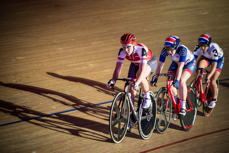 Trio of female riders, Six Day London, The Velodrome, October 2017 Nikon D4 with Nikon 70-200mm Lens at 200mm. Exposure: 1/400th at f/2.8 and ISO 5000