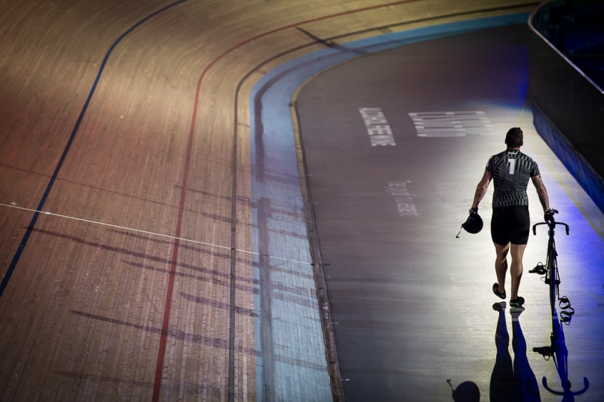 Cyclist leaving the track, Six Day Cycling at The Velodrome, London. October 2017 Nikon D4 with Nikon 70-200mm Lens at 185mm. Exposure: 1/400th at f/2.8 and ISO 4000