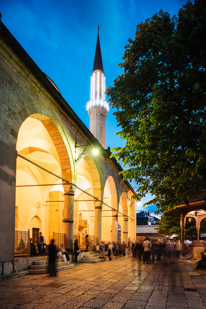 Exterior of Gazi-Husrevbey Mosque at night, Sarajevo, Bosnia