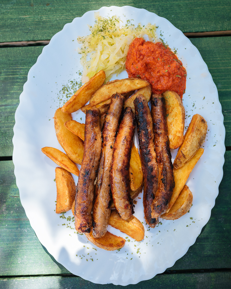Traditional Bosnian dish of sausages, Old Town, Sarajevo, Bosnia