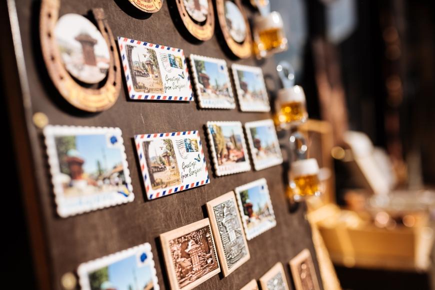 Souvenir fridge magnets for sale, Old Town, Sarajevo, Bosnia