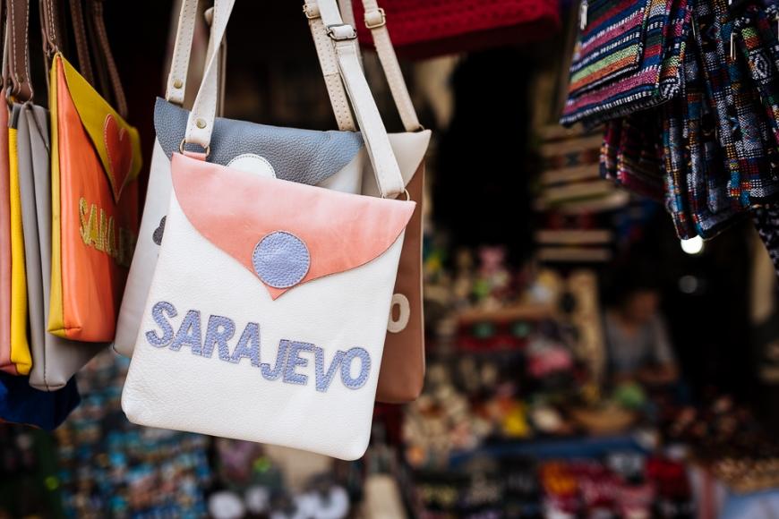 Souvenir bags for sale, Old Town, Sarajevo, Bosnia