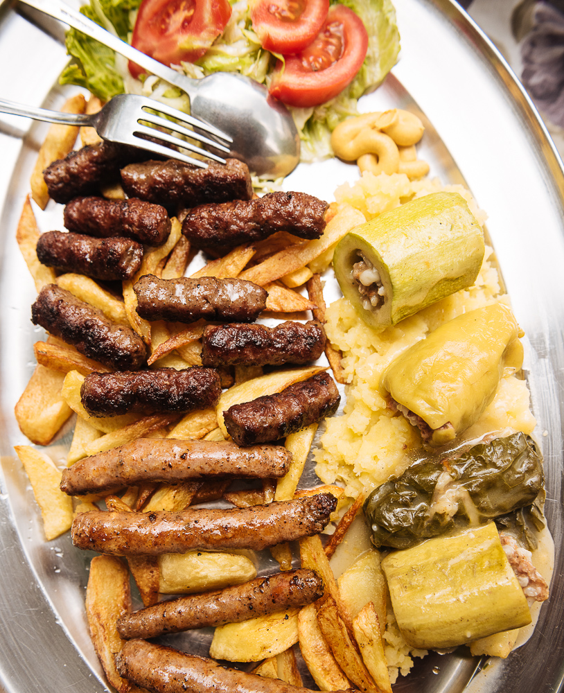 Traditional dish of Ćevapi and sausages, Mostar, Bosnia