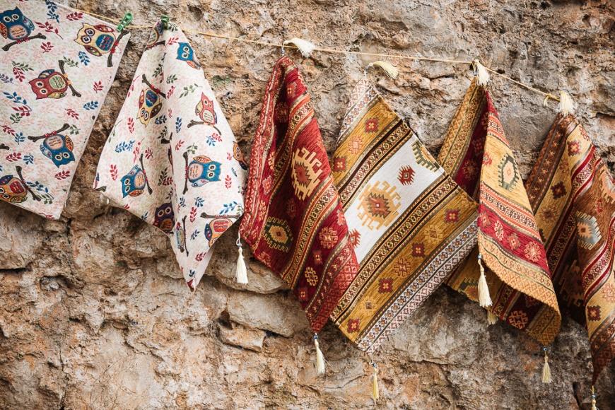 Souvenir textiles for sale, Počitelj, Bosnia & Hercegovina