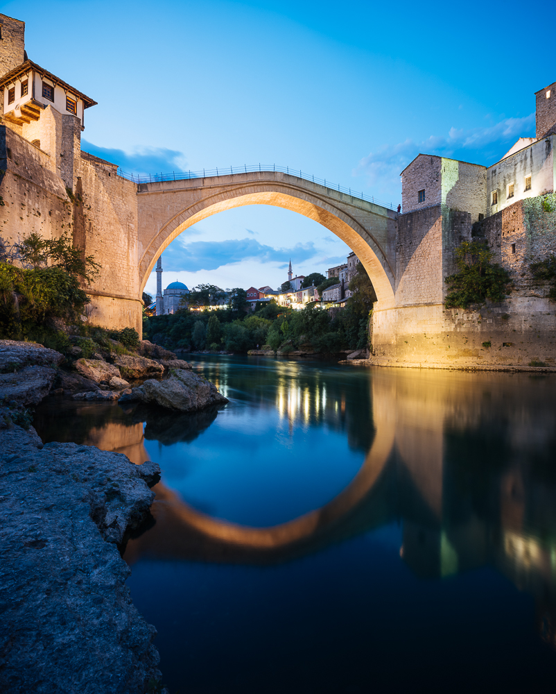 Stari Most Bridge at night, Mostar, Bosnia & Hercegovina