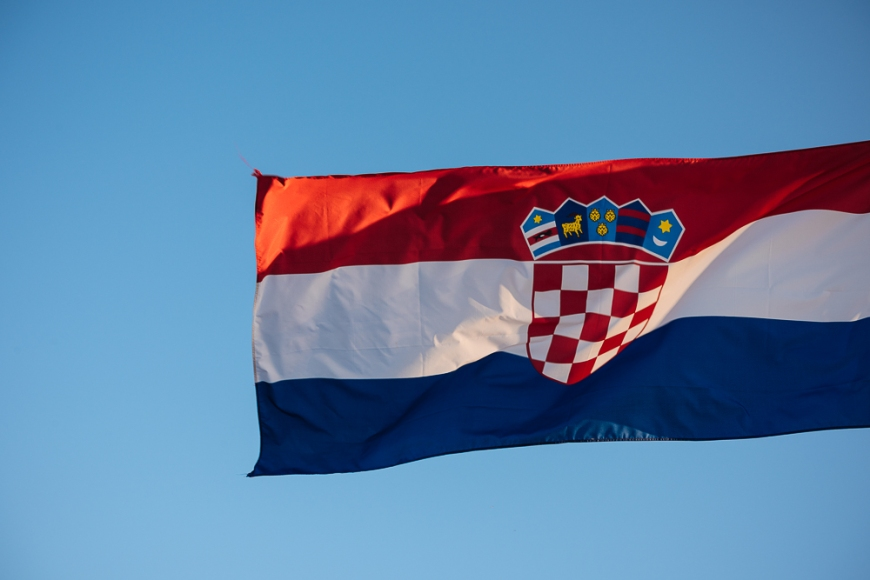 Flag of Croatia, City Walls, Dubrovnik, Croatia