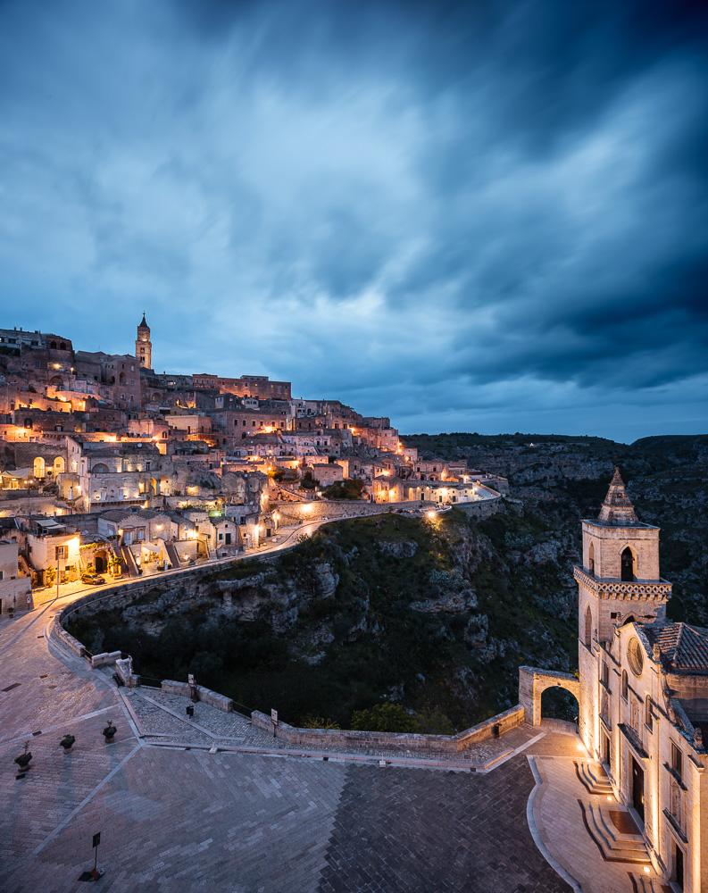 View of Sasso Barisano at night, Matera, Basilicata, Italy, Europe