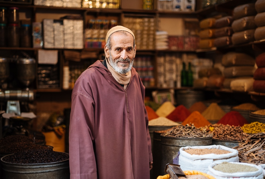 Portrait of shopkeeper, Medina, Fes el Bali, Fes, Morocco, North Africa