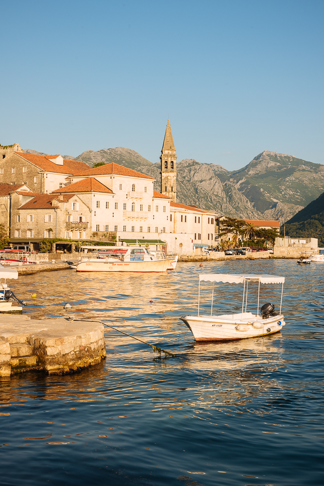 Boats moored at Perast, Bay of Kotor, Montenegro
