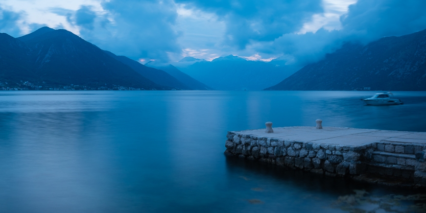 Bay of Kotor at twilight, Dobrota, Montenegro