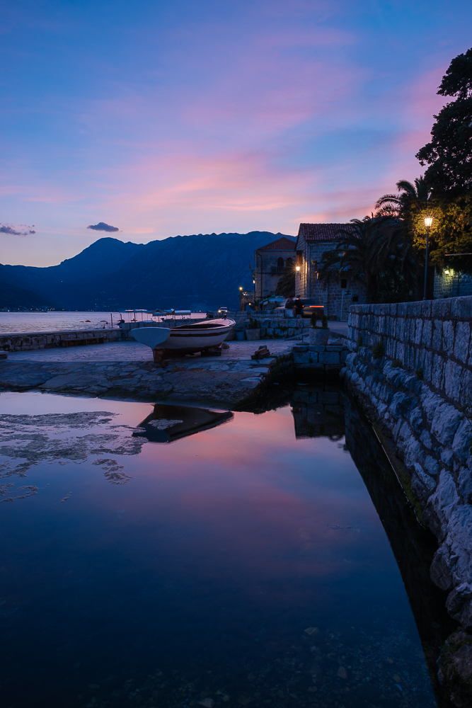 Perast at twilight, Bay of Kotor, Montenegro