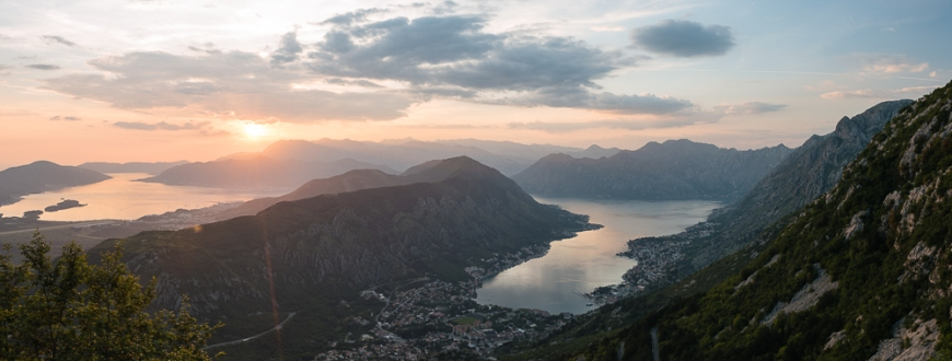 View of The Bay of Kotor at sunset, Montenegro