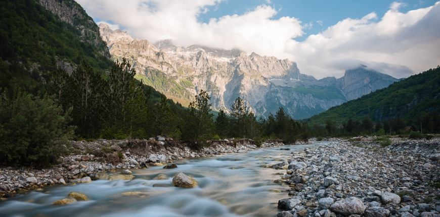 River at dawn, The Accursed Mountains, Theth, Albania