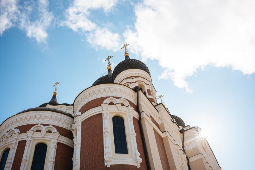 Exterior of Russian Orthodox Alexander Nevsky Cathedral, Toompea, Old Town, Tallinn, Estonia, Europe