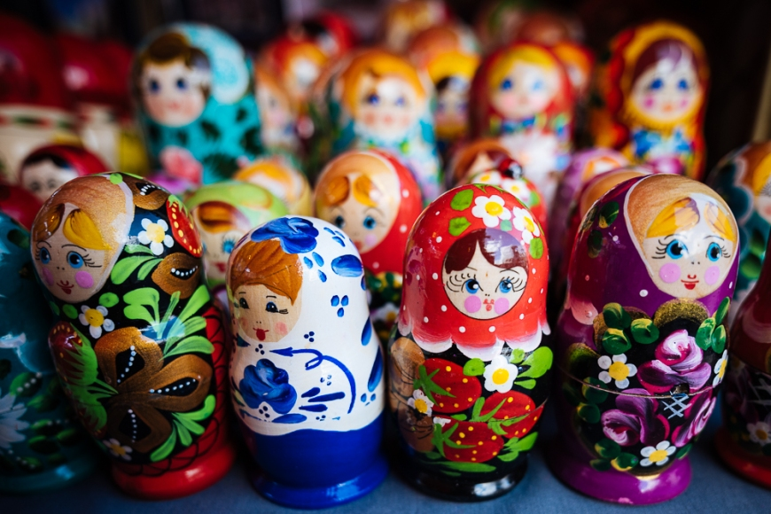 Souvenir Russian dolls for sale, Old Town, Tallinn, Estonia, Europe