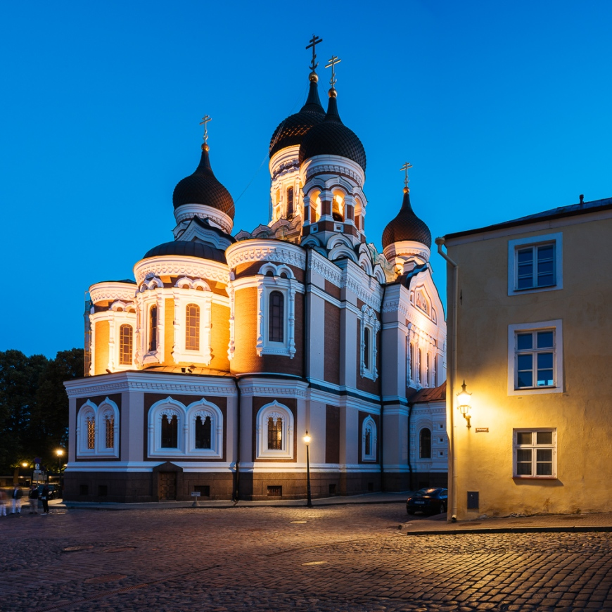 Exterior of Russian Orthodox Alexander Nevsky Cathedral at night, Toompea, Old Town, Tallinn, Estonia, Europe