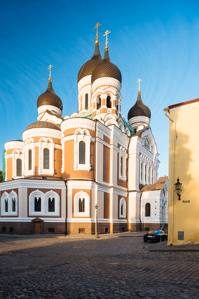 Exterior of Russian Orthodox Alexander Nevsky Cathedral at dawn, Toompea, Old Town, Tallinn, Estonia, Europe