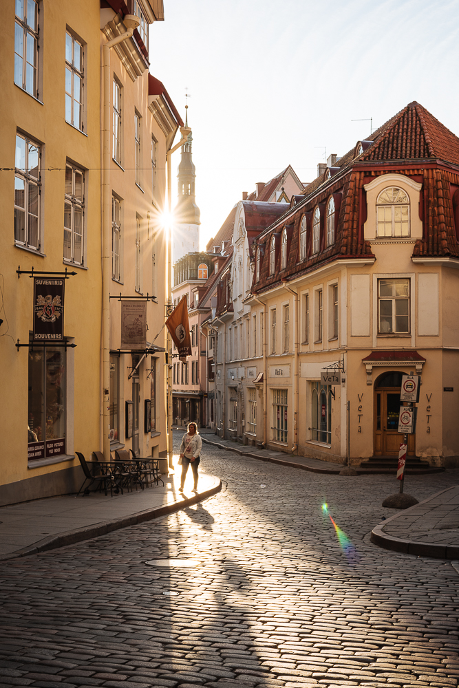 Pikk Street at dawn, Old Town, Tallinn, Estonia, Europe