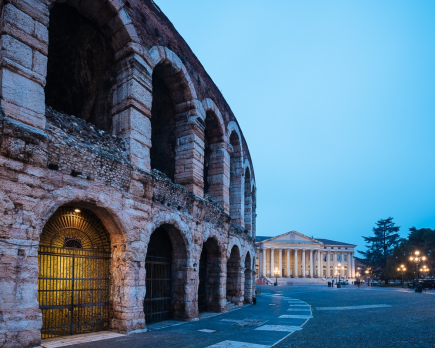 Piazza Bra and Roman Arena at night, Verona, Veneto Province, Italy, Europe