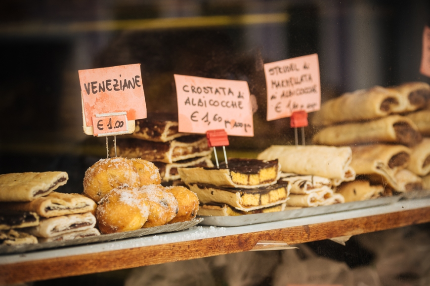 Traditional Italian cakes on display at bakery, Burano, Veneto Province, Italy, Europe