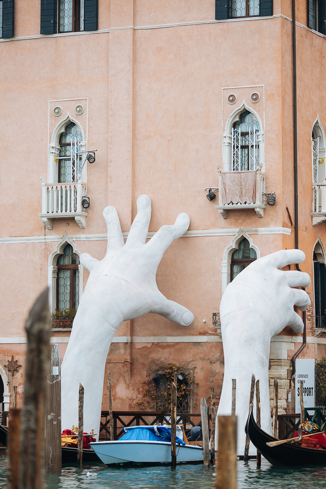 "Two Hands ""Support"" sculpture by artist Lorenzo Quinn, Venice, Veneto Province, Italy, Europe"