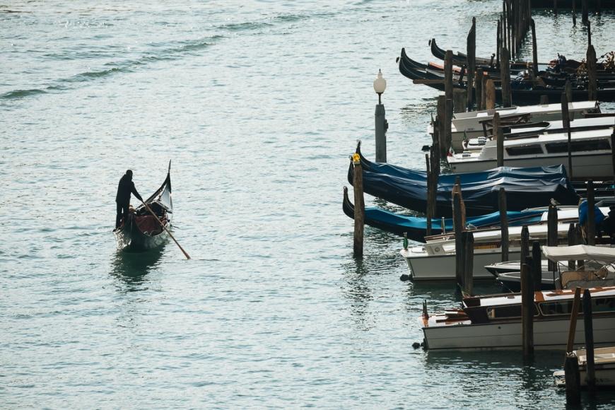 Gondola on Grand Canal, Venice, Veneto Province, Italy, Europe