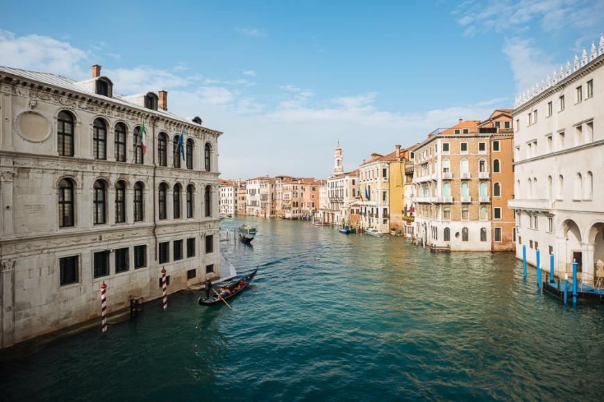 Gondolas on Grand Canal, Venice, Veneto Province, Italy, Europe