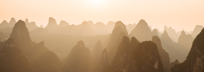 Sunset over Karst Hills, Xingping, Guilin, Guangxi Province, China