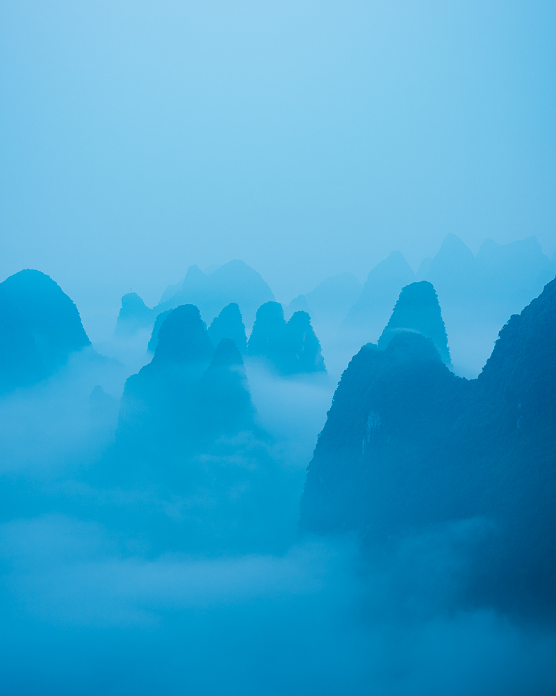 Dawn over Karst hills near Xingping, Guilin, Guangxi Province, China