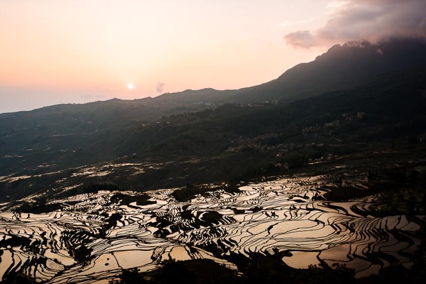 Duoyishu Rice Terraces at dawn, Yuanyang, Yunnan Province, China