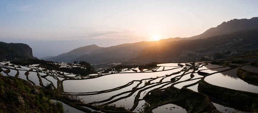 Duoyishu Rice Terraces at dawn, Yuanyang, Yunnan Province, China