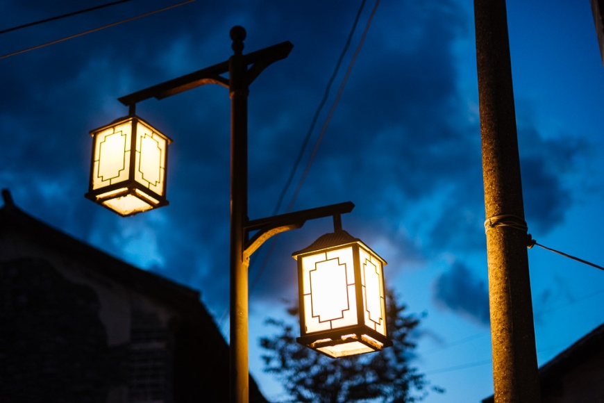 Street lamps at twilight, Dali, Yunnan Province, China