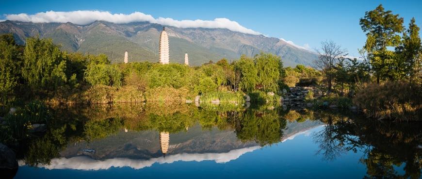 The Three Pagodas (San Ta Si), Dali, Yunnan Province, China