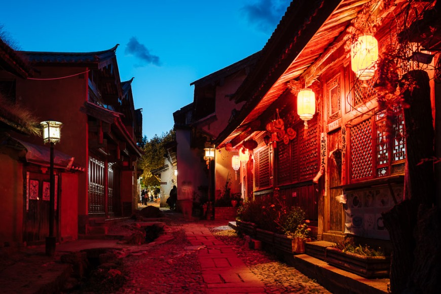 Twilight in Shaxi village, Yunnan Province, China